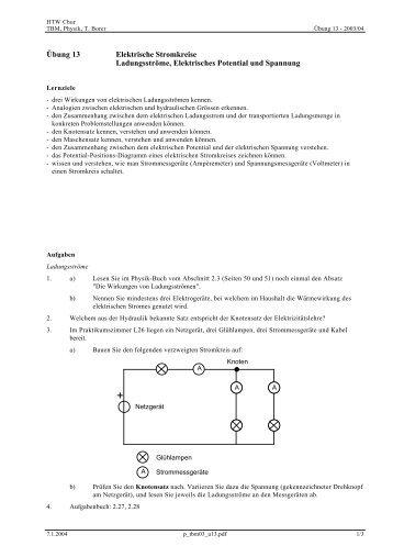 Übung 13 Elektrische Stromkreise Ladungsströme ... - Thomas Borer