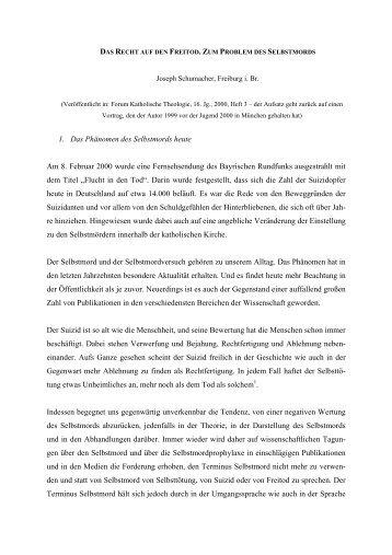 Das Recht auf den Freitod. Zum Problem des ... - Theologie heute