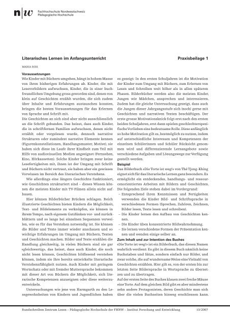 Literarisches Lernen im Anfangsunterricht Praxisbeilage 1