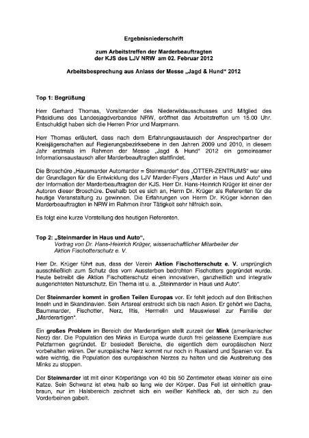 Ergebnisniederschrift zum Arbeitstreffen der Marderbeauftragten der ...