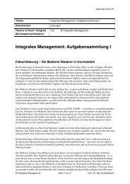 Aufgabensammlung I IntegralesManagement Lösungen - BWL-Online