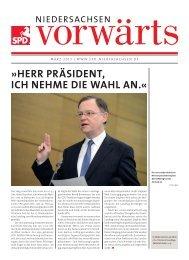 Ausgabe März 2013 des Niedersachsen-Vorwärts als pdf-Datei.