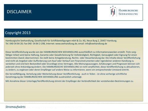 Flussfahrt-Bilanz - Hamburgische Seehandlung