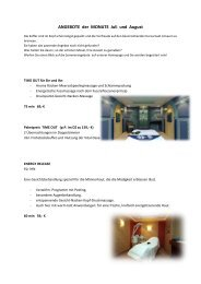 ANGEBOTE der MONATE Juli und August - Wellnesshotel