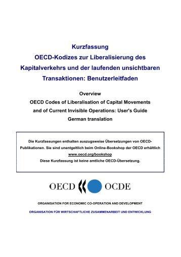 Kurzfassung OECD-Kodizes zur Liberalisierung des ... - OECD iLibrary