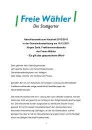 Es gilt das gesprochene Wort - Freie Wähler Stuttgart