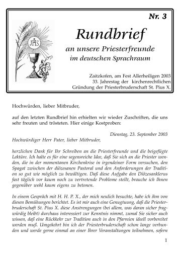 Priesterrundbrief Nr. 3 - Priesterseminar Herz Jesu