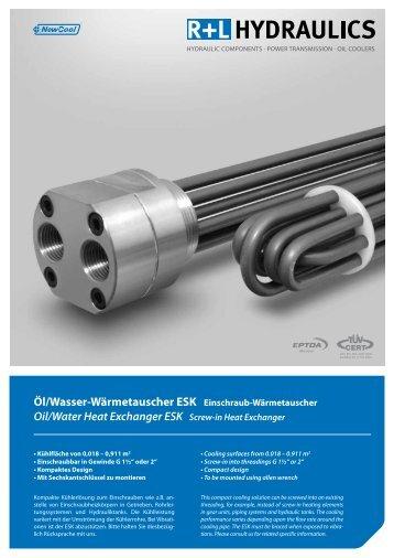 Öl/Wasser-Wärmetauscher ESK Einschraub-Wärmetauscher Oil ...