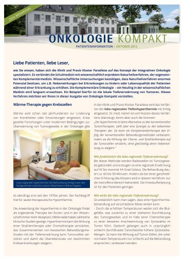 Newsletter Oktober 2012 - Privatklinik für Integrative Onkologie ...