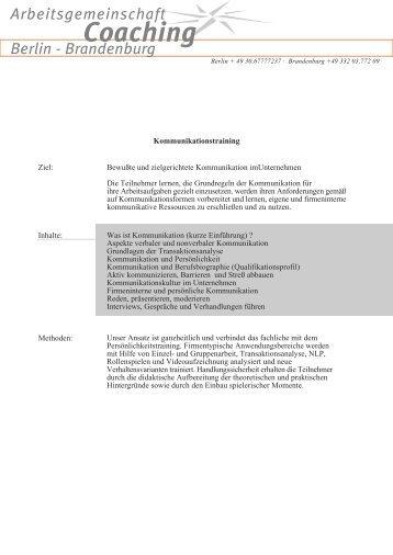 Kommunikationstraining Bewußte und zielgerichtete Kommunikation ...
