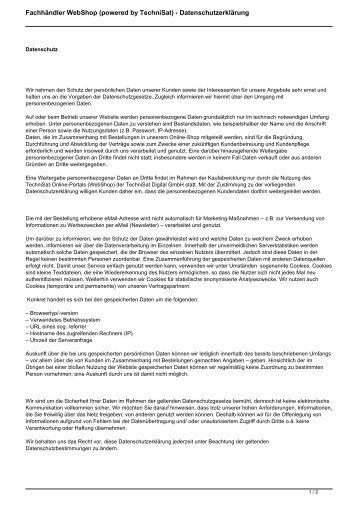 Datenschutzerklärung als PDF - Technisatpartner.de