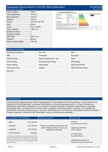 Volkswagen Passat Variant 2.0 TDI DPF DSG ... - Autohaus Schulze