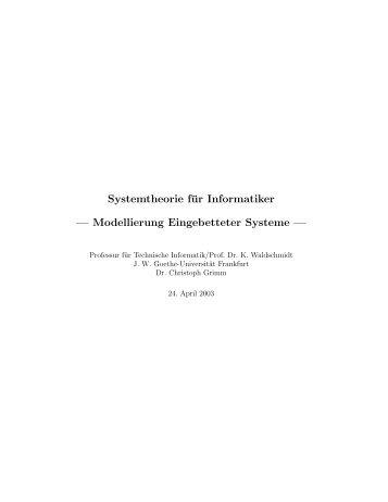 Skript - Technische Informatik an der Universität Frankfurt - Goethe ...