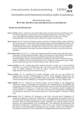 Internationales Graduiertenkolleg - Fachbereich Philosophie und ...
