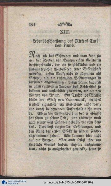 Lebensbeschreibung des Ritters Carl von Linns. - Universität ...