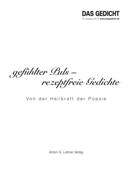 Und Editorial Das Gedicht 16 Als Pdf Anton G Leitner
