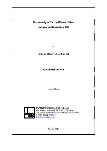 Marktanalyse für die Kölner Häfen Abschlussbericht