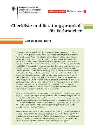 Checkliste und Beratungsprotokoll für Verbraucher - Dr. Kirner ...
