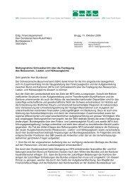 Stellungnahme Schlussbericht über die Festlegung des Ressourcen ...