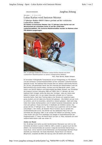 Lukas Karlen wird Junioren-Meister - Bödeli Skiteam