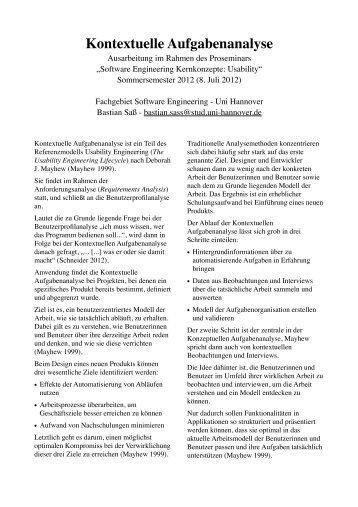 Kontextuelle Aufgabenanalyse - Das Fachgebiet Software ...