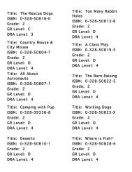 Title: The Rescue Dogs ISBN: 0-328-50816-0 Grade: 2 GR Level: C ...