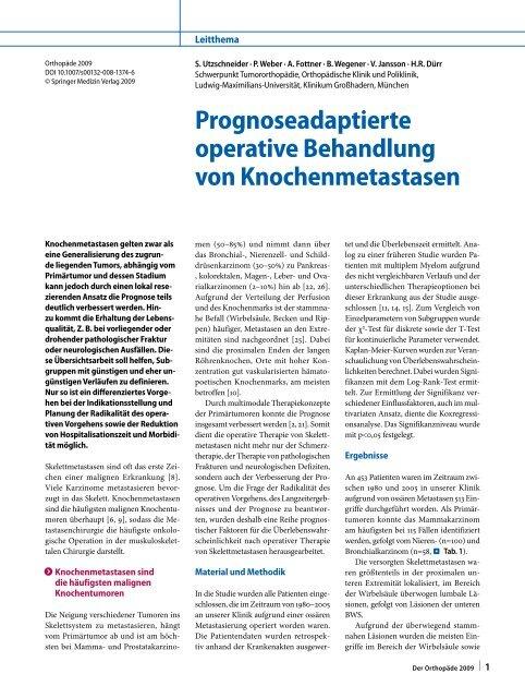 Prognoseadaptierte operative Behandlung von Knochenmetastasen
