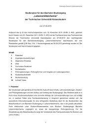 Studienplan für den Bachelor-Studiengang - Universität Kaiserslautern