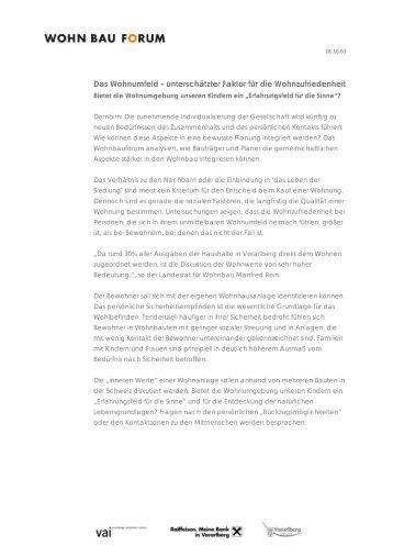 Pressemitteilung Wohnbauforum 28.10.03
