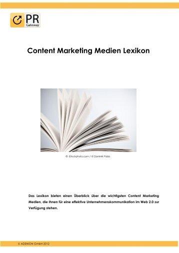 Content Marketing Medien Lexikon - PR-Gateway