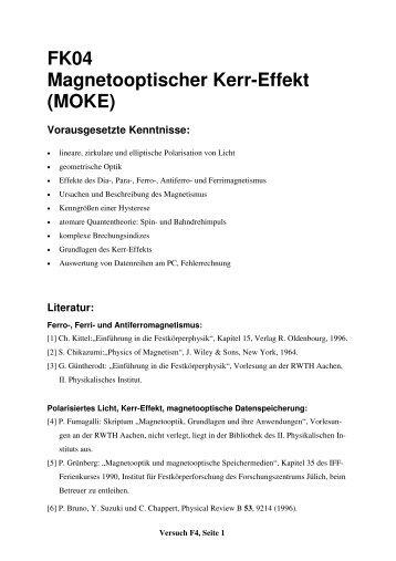 FK04 Magnetooptischer Kerr-Effekt (MOKE) - 2. Physikalisches ...