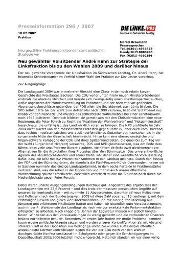 Presseinformation 296 / 2007 - Fraktion DIE LINKE im Sächsischen ...