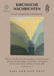 Kirchliche Nachrichten - Luth. Kirchgemeinde St. Petri Rodewisch