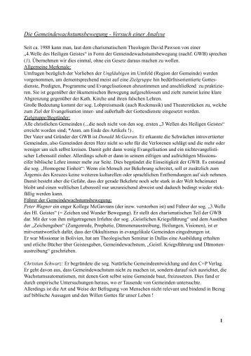 Die Gemeindewachstumsbewegung - Versuch einer ... - Bible only