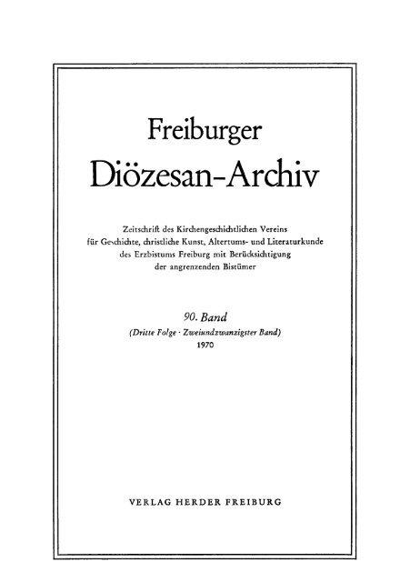 Freiburger Diözesan Archiv Band 90 1970 Freidok