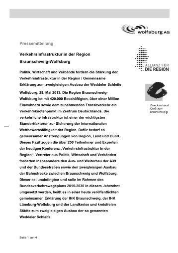 Pressemitteilung Verkehrsinfrastruktur in der Region ... - Wolfsburg AG