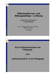 Differenzielle Lern- und Bildungssettings - 2. Sitzung Die 9 ...