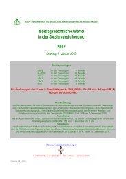 Beitragsrechtliche Werte 2012 - Hauptverband