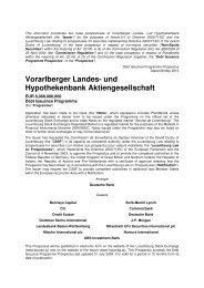 Prospekt / Prospectus 2010 - Hypo Landesbank Vorarlberg