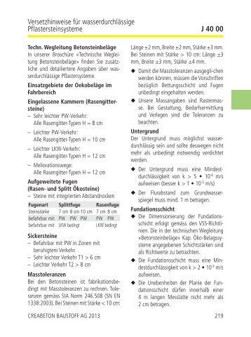 Versetzhinweise für wasserdurchlässige ... - cbb-katalog.ch