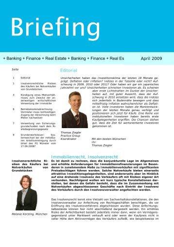 Editorial Immobilienrecht, Insolvenzrecht + Banking + ... - Eversheds