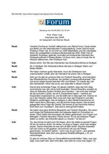 Prof. Peter Voß Intendant des SWR im Gespräch mit Werner Reuß ...