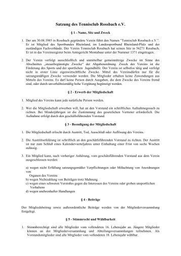 Satzung des Tennisclub Rossbach e.V. - Tennisclub Roßbach e.V.