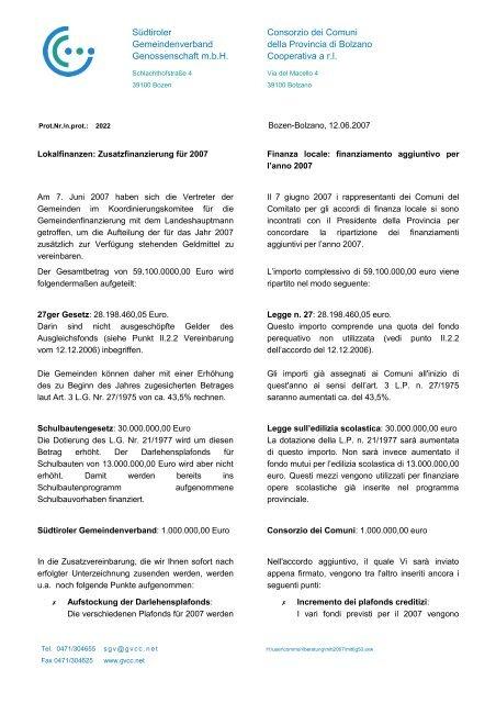 finanziamento aggiuntivo per l'anno 2007 (71 KB) - .PDF