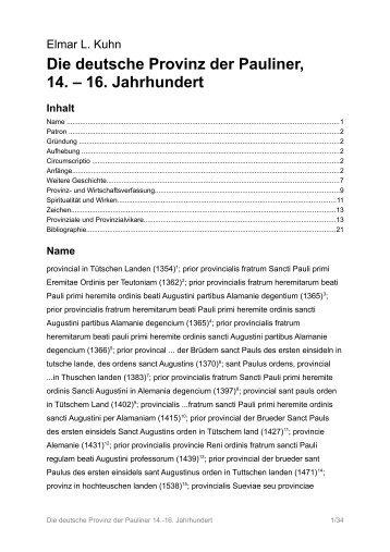 Die deutsche Provinz der Pauliner, 14. – 16 ... - elmarlkuhn.de