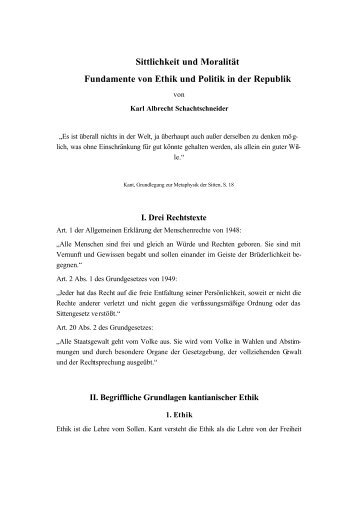 Sittlichkeit und Moralität - Karl Albrecht Schachtschneider