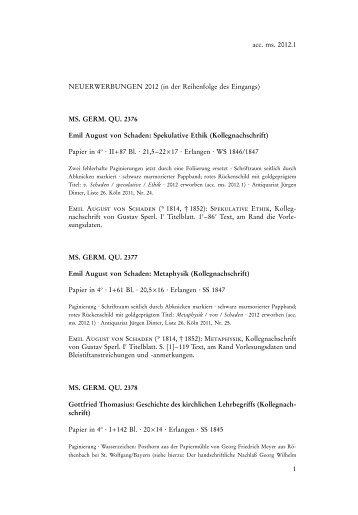Neuerwerbungen 2012 - Staatsbibliothek zu Berlin