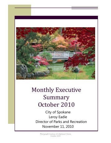 Monthly Executive Summary October 2010 - City of Spokane Parks ...