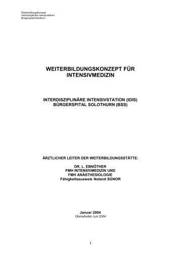 WEITERBILDUNGSKONZEPT FÜR INTENSIVMEDIZIN - SGI
