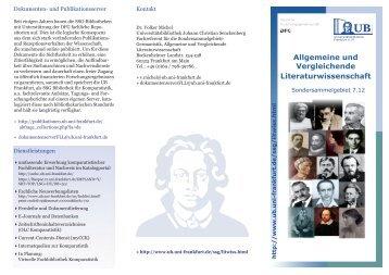Flyer Allgemeine und Vergleichende Literaturwissenschaft
